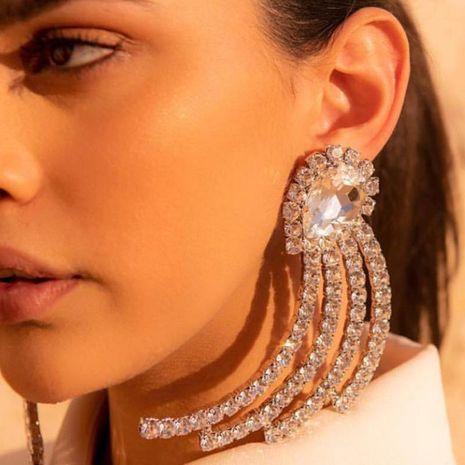 Fashion Drop Shaped Geometric Claw Chain Acrylic Rhinestone Earrings NHJE142003's discount tags
