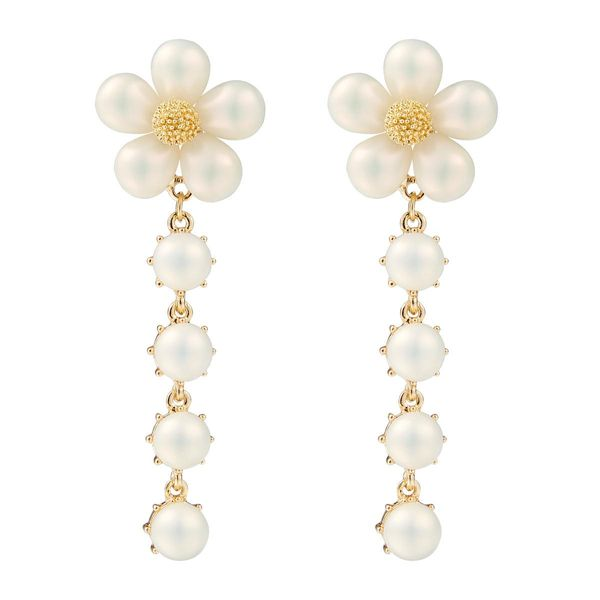 Fashion Beads Flower Long Earrings NHJE142004