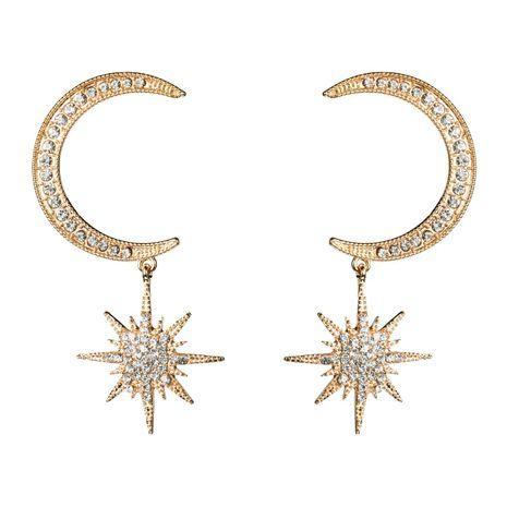 Rhinestone Moon Star Long Earrings NHJE142016's discount tags