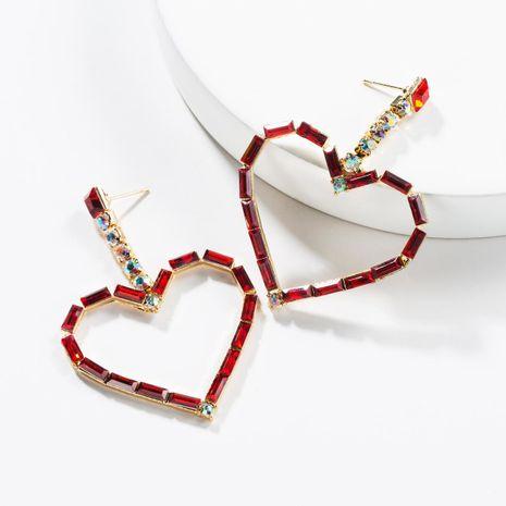 Fashion rhinestone-encrusted heart-shaped earrings NHJE142019's discount tags