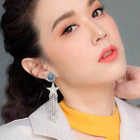 Pentagram Studded Acrylic Long Tassel Earrings NHJE142020's discount tags