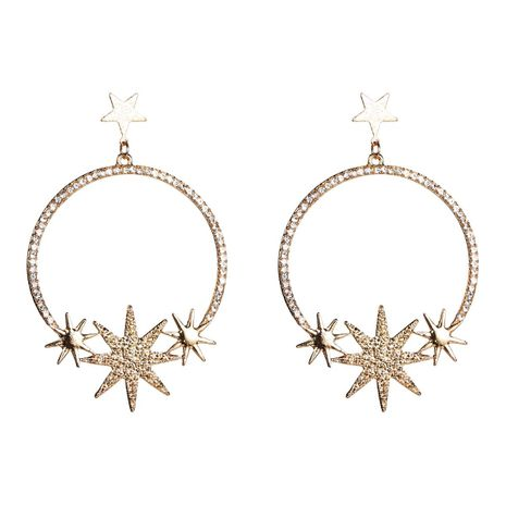 Simple Circle Star Rhinestone Earrings NHJE142028's discount tags