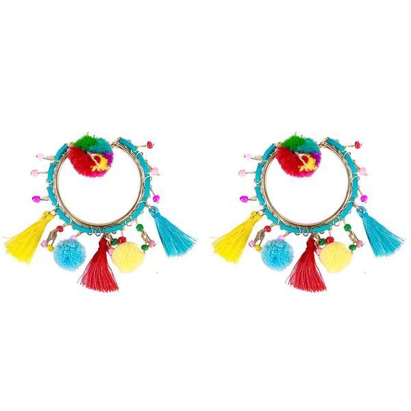 Tasseled Beads Ball Large Circle Scalloped Earrings NHJE142035