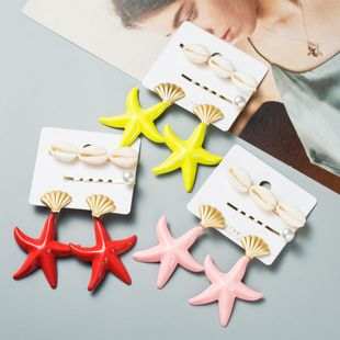 Fashion Drop Oil Starfish Shell Earrings NHJE142039's discount tags