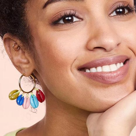 New circle multi-layer shell earrings NHJE142040's discount tags