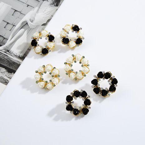 Resin floral ring rhinestone earrings NHJE142045's discount tags