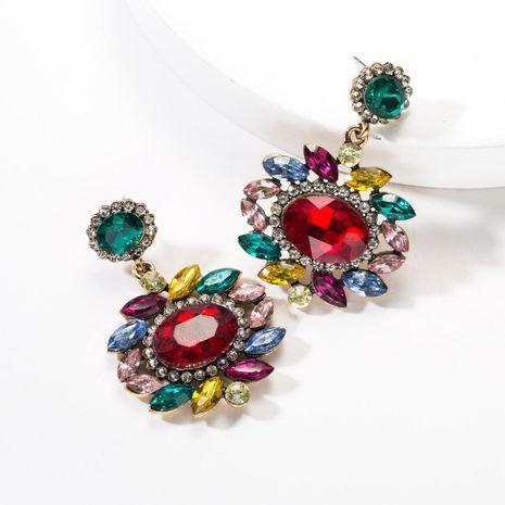 Multi-layer oval flower acrylic full rhinestone earrings NHJE142062's discount tags