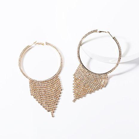 Fashion big circle acrylic studded tassel earrings NHJE142063's discount tags