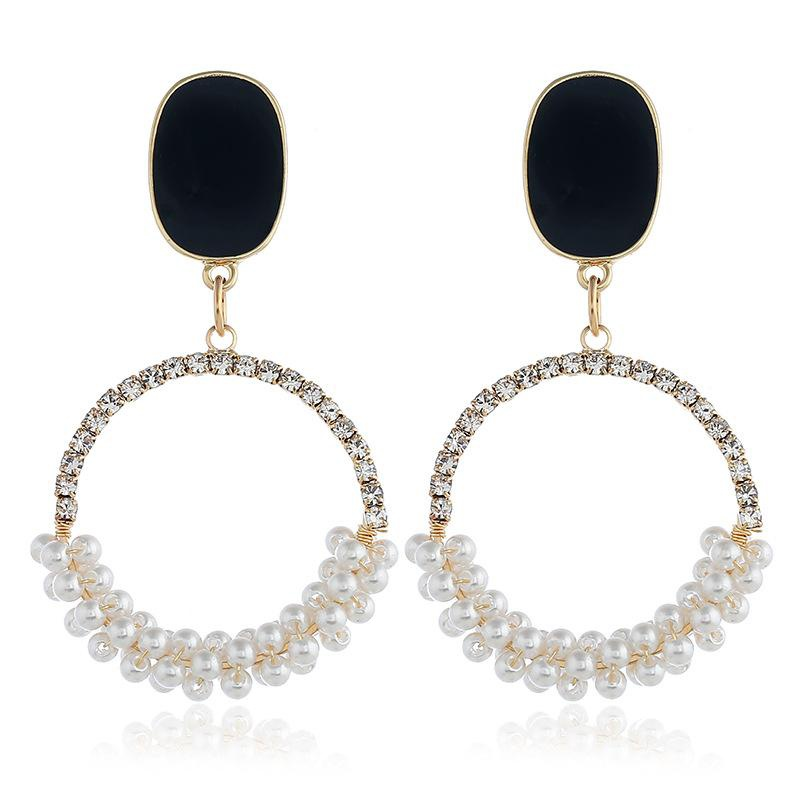 Fashion alloy rhinestone earrings NHVA142068