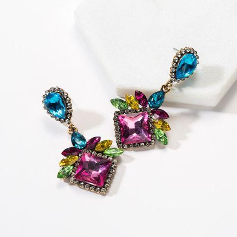Drop-shaped square rhinestone earrings NHJE142071's discount tags