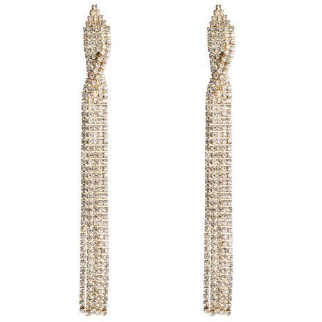 Fashion rhinestone long tassel earrings NHJE142075's discount tags