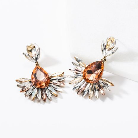 Fashion drop-shaped acrylic rhinestone flower earrings NHJE142084's discount tags