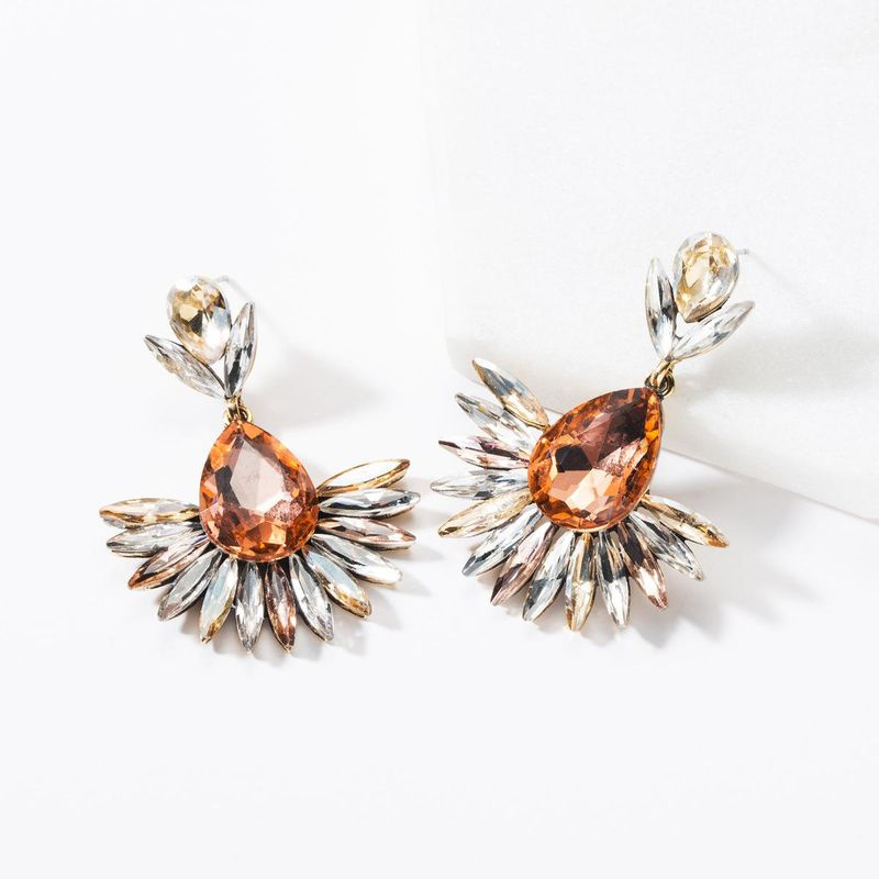 Fashion drop-shaped acrylic rhinestone flower earrings NHJE142084