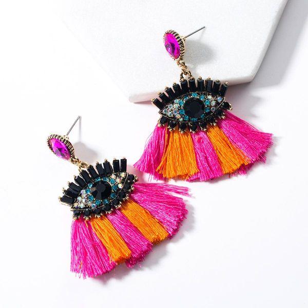 Fashion Acrylic Rhinestone Eye Tassel Earrings NHJE142085