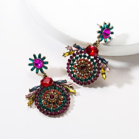 Round mesh openwork acrylic full rhinestone earrings NHJE142089's discount tags