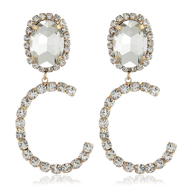 Fashion C-shaped rhinestone earrings NHVA142095