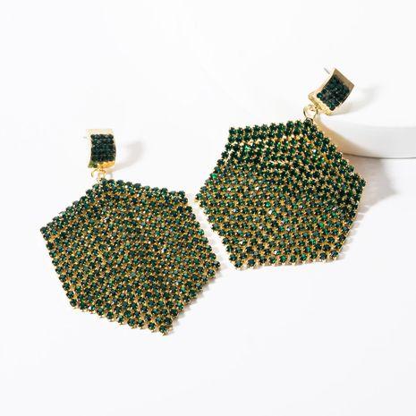 Fashion Hexagon Acrylic Studded Tassel Earrings NHJE142097's discount tags