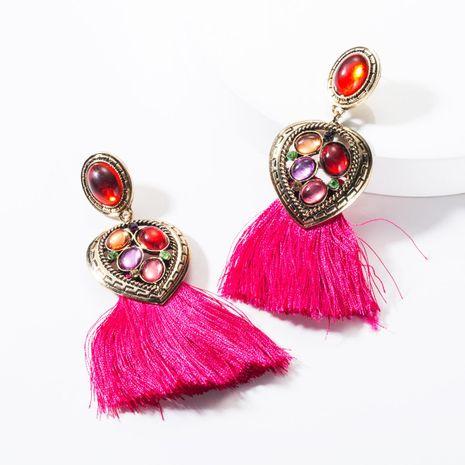 Alloy heart rhinestone resin tassel earrings NHJE142098's discount tags