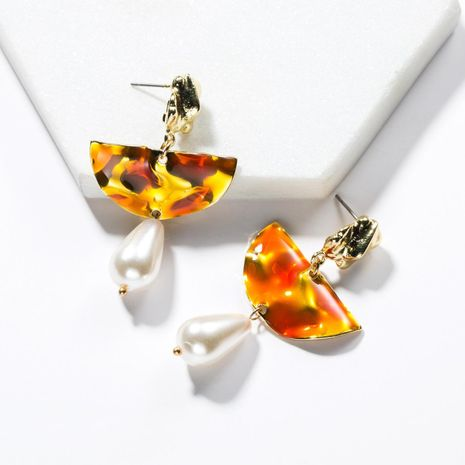 Alloy semi-circular drop oil beads earrings NHJE142101's discount tags