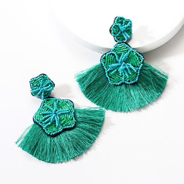 Fashion multi-layer flannel beaded tassel earrings NHJE142110