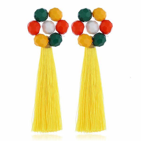 Fashion long flower tassel earrings multicolored NHVA142109