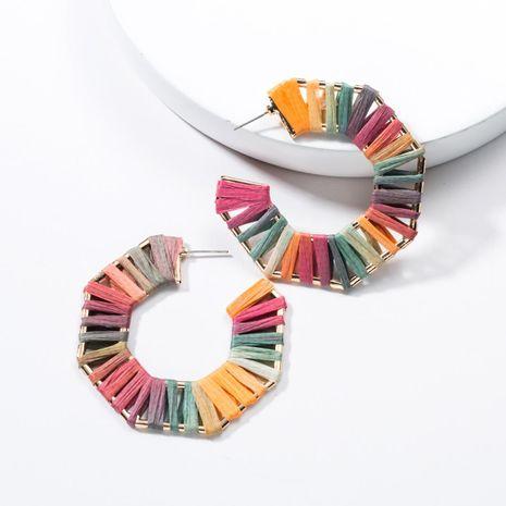 Fashion C-shaped alloy raffia earrings female NHJE142113's discount tags