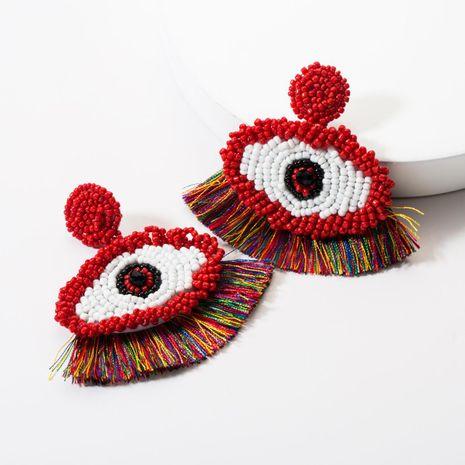 Fashion beaded eye tassel earrings NHJE142117's discount tags