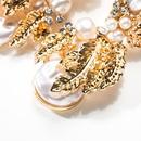 Fashion Alloy Leaf Beads Rhinestone Flower Earrings NHJE141911