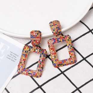 New geometric stained glass rhinestone stud earrings NHJJ142139's discount tags