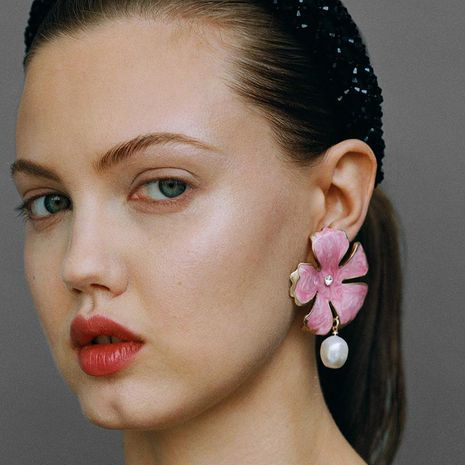 Aretes de perlas pintadas al óleo NHJJ142142's discount tags