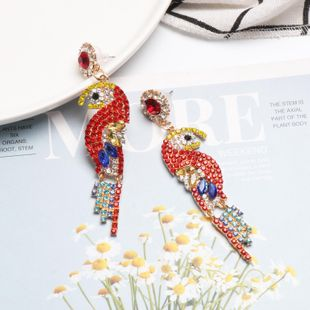 Colorful rhinestone-studded bird earrings NHJJ142144's discount tags