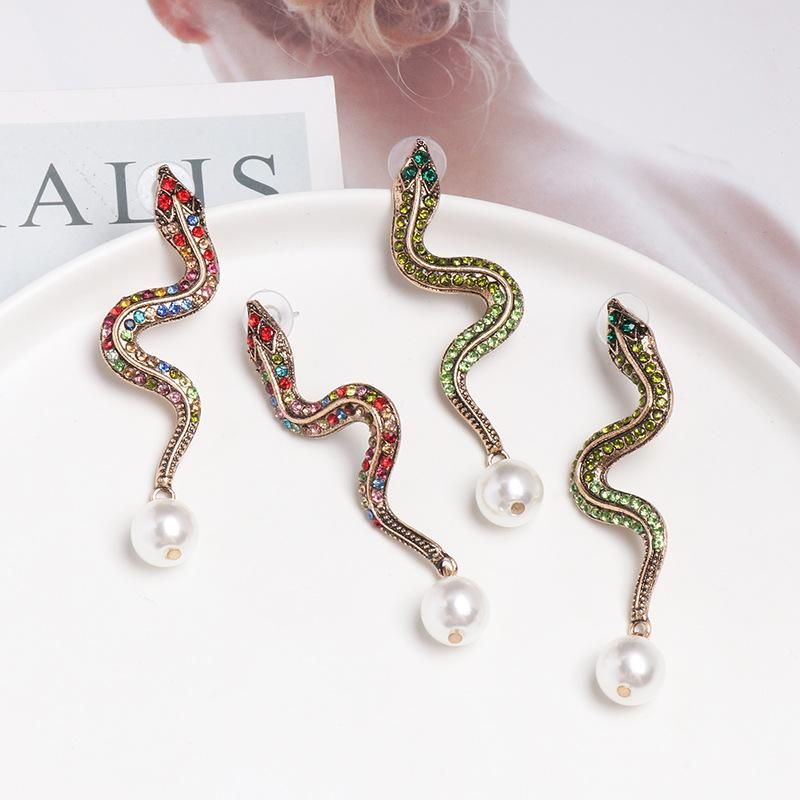 Fashion Alloy Snake Beads Stud Earrings NHJJ142181