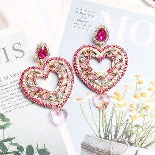 Stylish color rhinestone-studded heart-shaped earrings NHJJ142187's discount tags