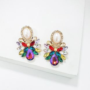 Fashion rhinestone glass flower earrings NHJJ142205's discount tags
