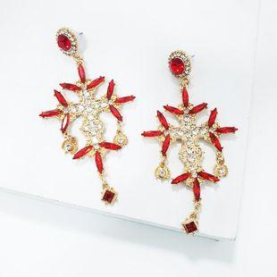 Fashion rhinestone cross flower stud earrings NHJJ142206's discount tags