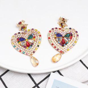 New heart-shaped rhinestone earrings NHJJ142212's discount tags