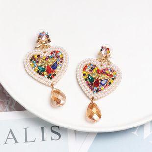 New heart-shaped colored rhinestone stud earrings NHJJ142216's discount tags