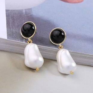 Pendientes de aleación chapada en perlas con resina NHQD142266's discount tags