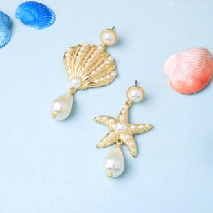 Fashion star shell with rhinestone stud earrings NHQD142283's discount tags