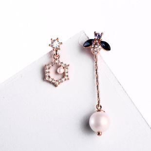 Insectos geométricos asimétricos de moda con aretes de perlas de diamantes NHQD142298's discount tags