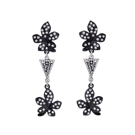 Fashion bright black rhinestone flower alloy earrings NHQD142317's discount tags