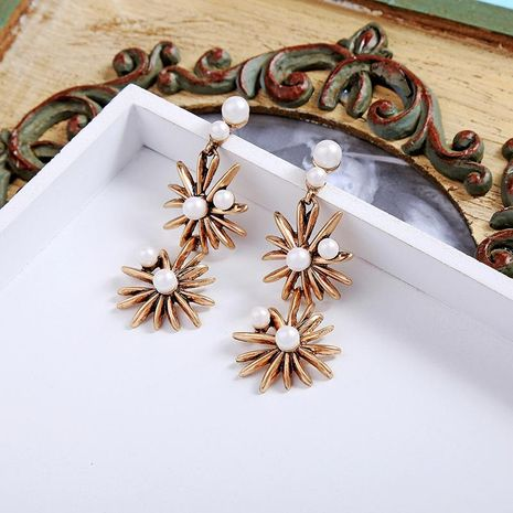 Long alloy plating beads star earrings NHQD142324's discount tags