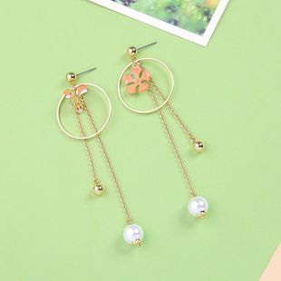 Pendientes creativos de borla con flor de goteo circular NHQD142327's discount tags