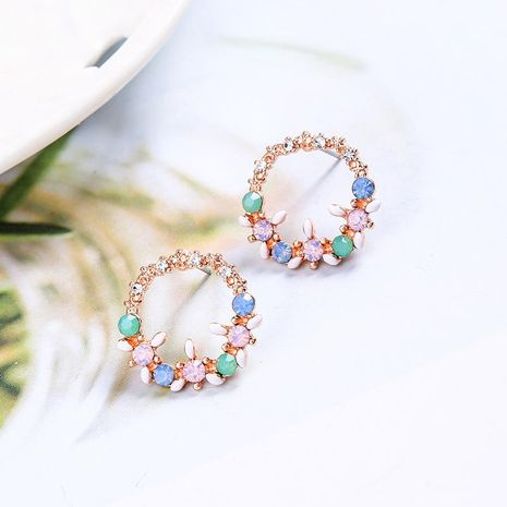Womens Floral Rhinestone Alloy Earrings NHQD142380's discount tags