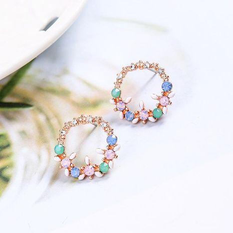 Aretes de aleación de diamantes florales para mujer NHQD142380's discount tags