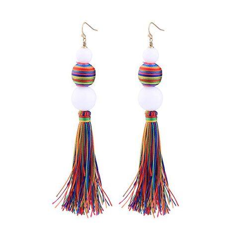 Fashion colorful tassel ball earrings NHQD142385's discount tags