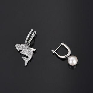 Pendientes de perlas de circonita con incrustaciones de tiburón blanco europeo y americano NHLJ142395's discount tags