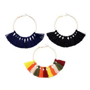 Pendientes redondos con borlas de estilo étnico NHQD142438's discount tags