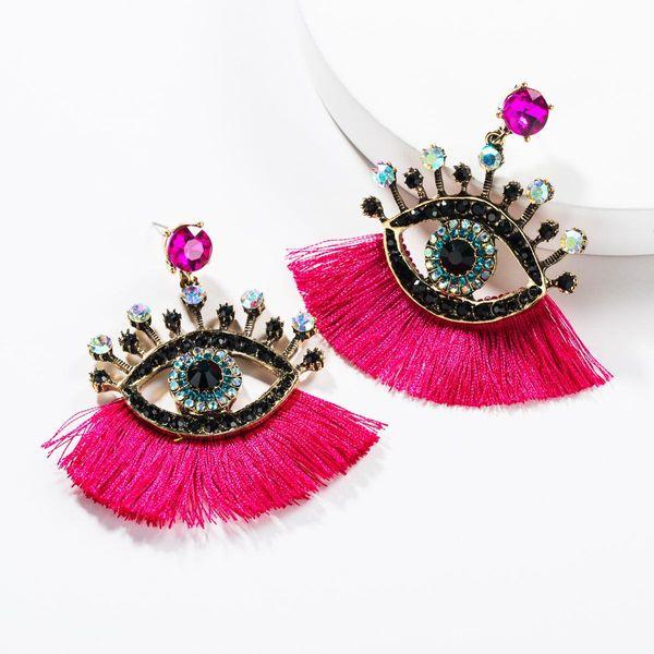 European and American acrylic rhinestone eye tassel earrings NHJE142442