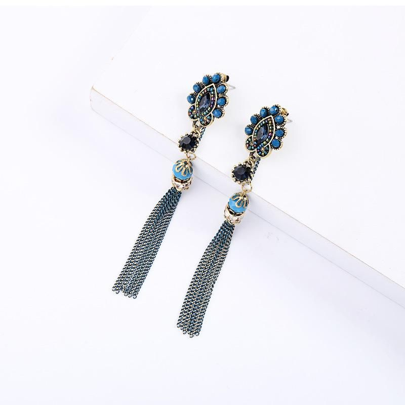 S925 alloy needle female national wind tassel earrings NHQD142443